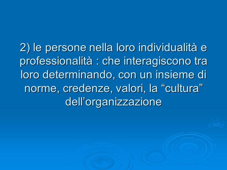 2) le persone nella loro individualità e professionalità : che interagiscono tra loro determinando, con un insieme di norme, credenze, valori, la cultura dellorganizzazione
