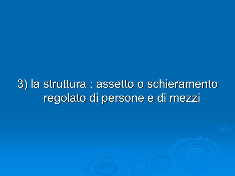3) la struttura : assetto o schieramento regolato di persone e di mezzi