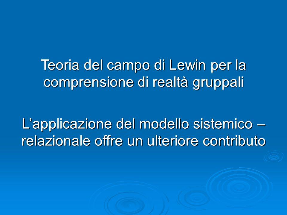 Teoria del campo di Lewin per la comprensione di realtà gruppali Lapplicazione del modello sistemico – relazionale offre un ulteriore contributo