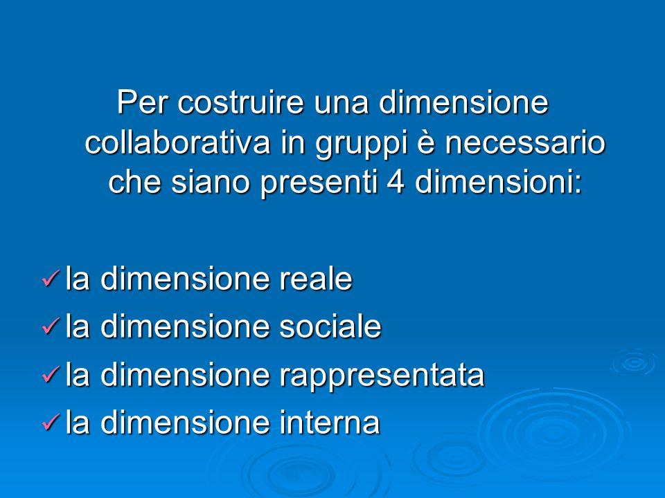 Per costruire una dimensione collaborativa in gruppi è necessario che siano presenti 4 dimensioni: la dimensione reale la dimensione reale la dimensio