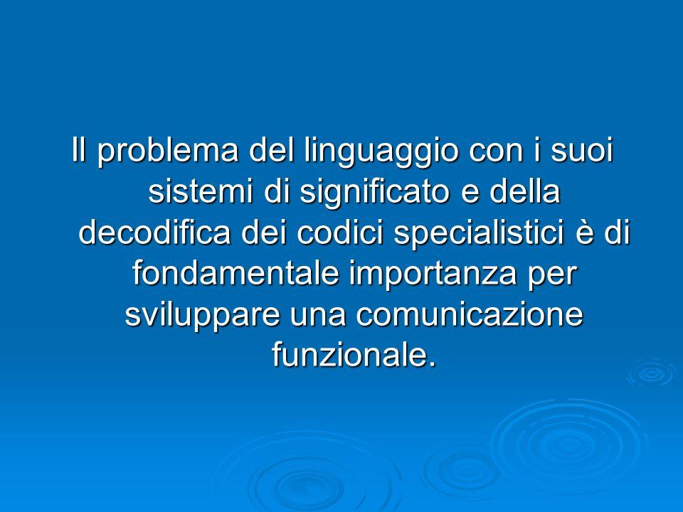 Il problema del linguaggio con i suoi sistemi di significato e della decodifica dei codici specialistici è di fondamentale importanza per sviluppare u