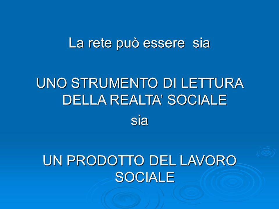 La rete può essere sia UNO STRUMENTO DI LETTURA DELLA REALTA SOCIALE sia UN PRODOTTO DEL LAVORO SOCIALE