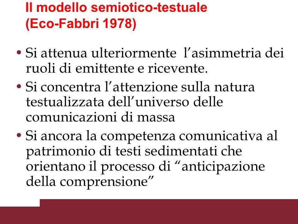 Il modello semiotico-testuale (Eco-Fabbri 1978) I destinatari non ricevono messaggi singoli riconoscibili, ma insiemi testuali I destinatari non commi