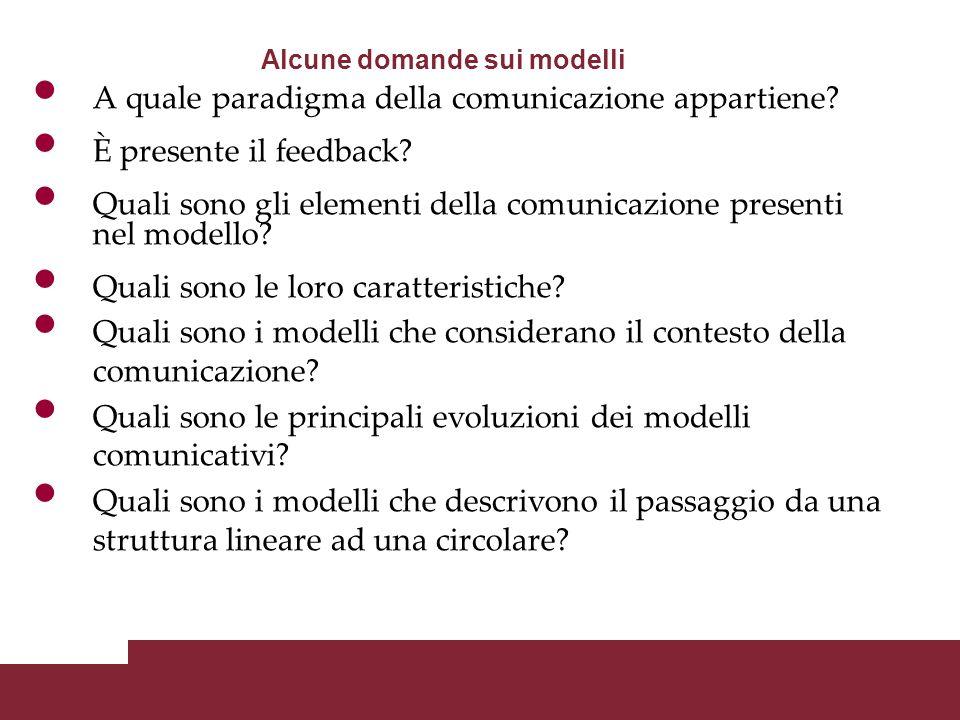In generale è possibile operare una distinzione fondamentale relativa ai differenti tipi di modelli modelli lineari modelli circolari I modelli della