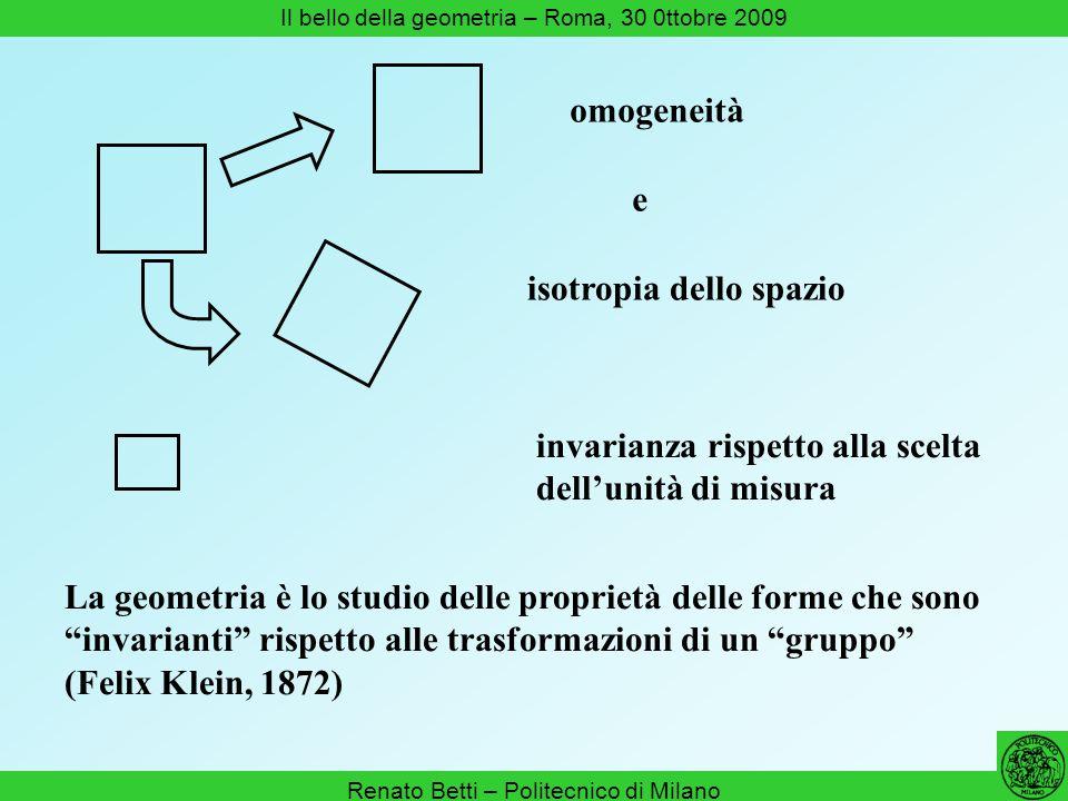 Renato Betti – Politecnico di Milano Il bello della geometria – Roma, 30 0ttobre 2009 La geometria è lo studio delle proprietà delle forme che sono in
