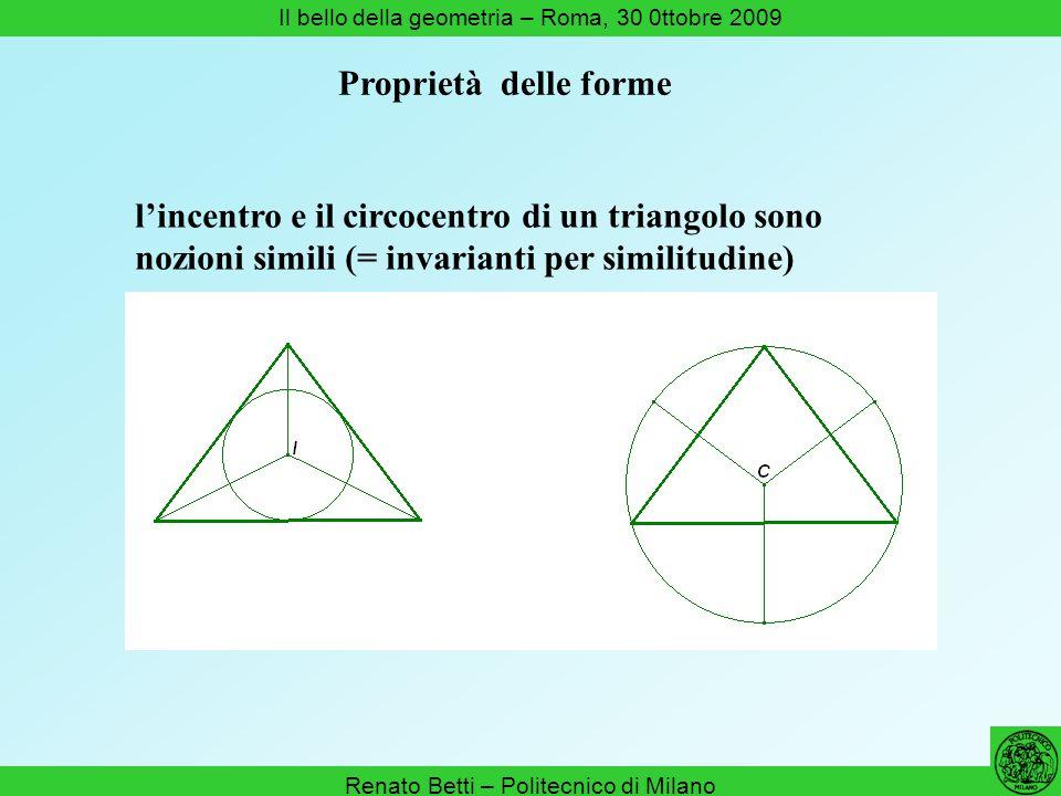 Renato Betti – Politecnico di Milano Il bello della geometria – Roma, 30 0ttobre 2009 Proprietà delle forme lincentro e il circocentro di un triangolo