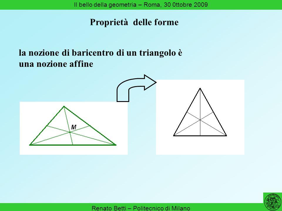 Renato Betti – Politecnico di Milano Il bello della geometria – Roma, 30 0ttobre 2009 la nozione di baricentro di un triangolo è una nozione affine Pr