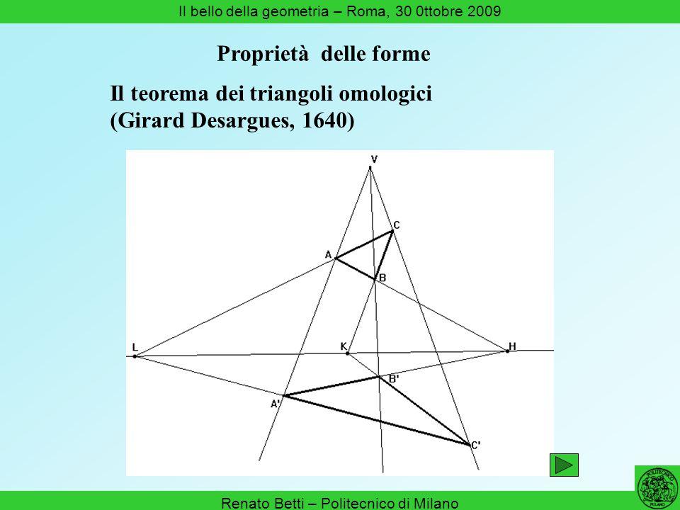 Renato Betti – Politecnico di Milano Il bello della geometria – Roma, 30 0ttobre 2009 Il teorema dei triangoli omologici (Girard Desargues, 1640) Prop