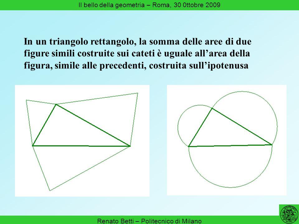 Renato Betti – Politecnico di Milano Il bello della geometria – Roma, 30 0ttobre 2009 In un triangolo rettangolo, la somma delle aree di due figure si