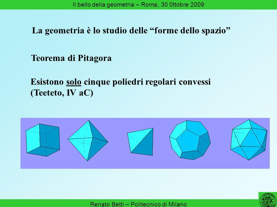 Renato Betti – Politecnico di Milano Il bello della geometria – Roma, 30 0ttobre 2009 La geometria è lo studio delle forme dello spazio Esistono solo