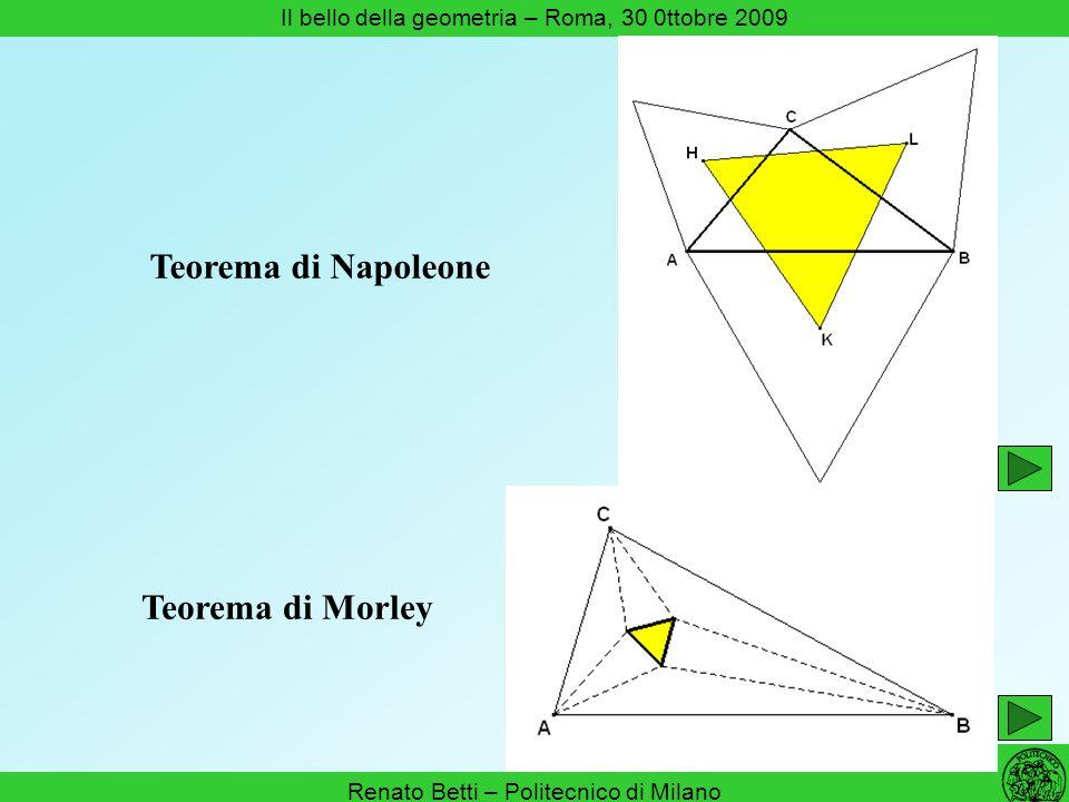 Renato Betti – Politecnico di Milano Il bello della geometria – Roma, 30 0ttobre 2009 Teorema di Napoleone Teorema di Morley