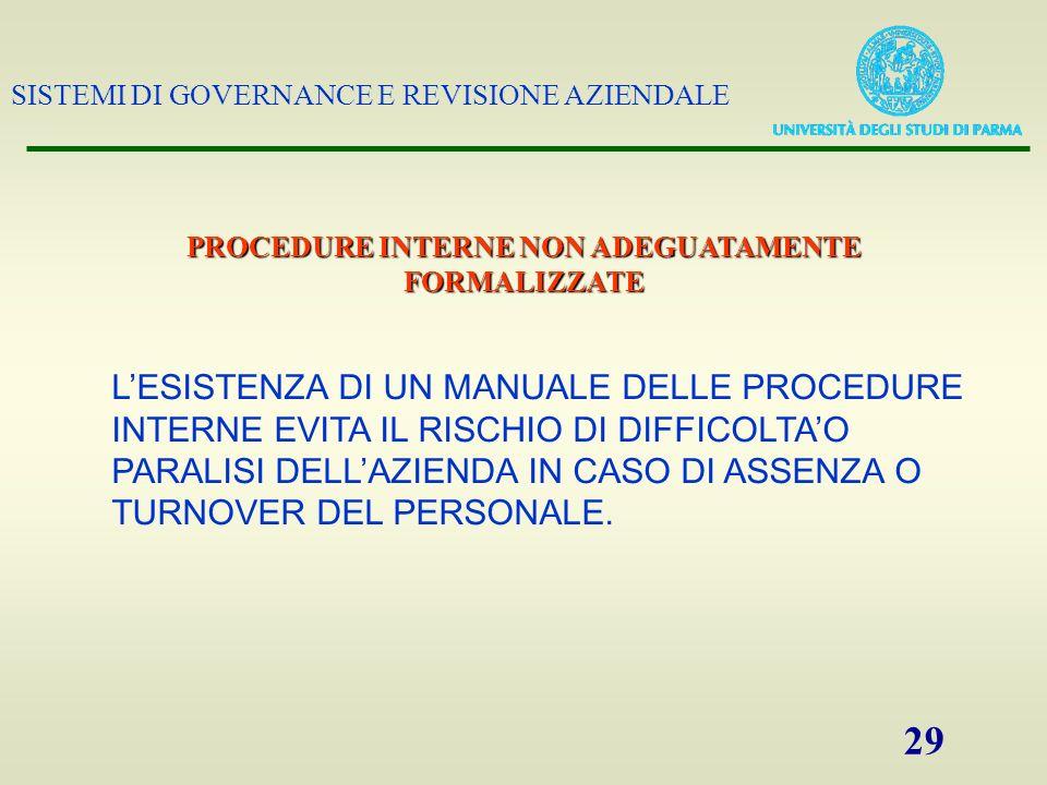 SISTEMI DI GOVERNANCE E REVISIONE AZIENDALE 29 PROCEDURE INTERNE NON ADEGUATAMENTE FORMALIZZATE LESISTENZA DI UN MANUALE DELLE PROCEDURE INTERNE EVITA