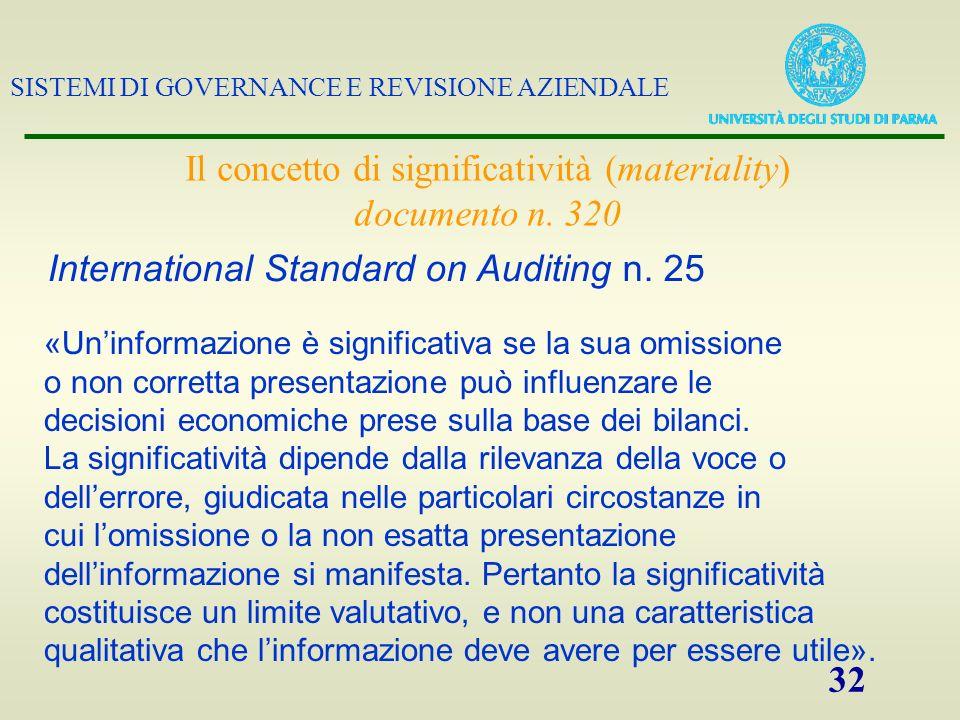 SISTEMI DI GOVERNANCE E REVISIONE AZIENDALE 32 Il concetto di significatività (materiality) documento n. 320 International Standard on Auditing n. 25