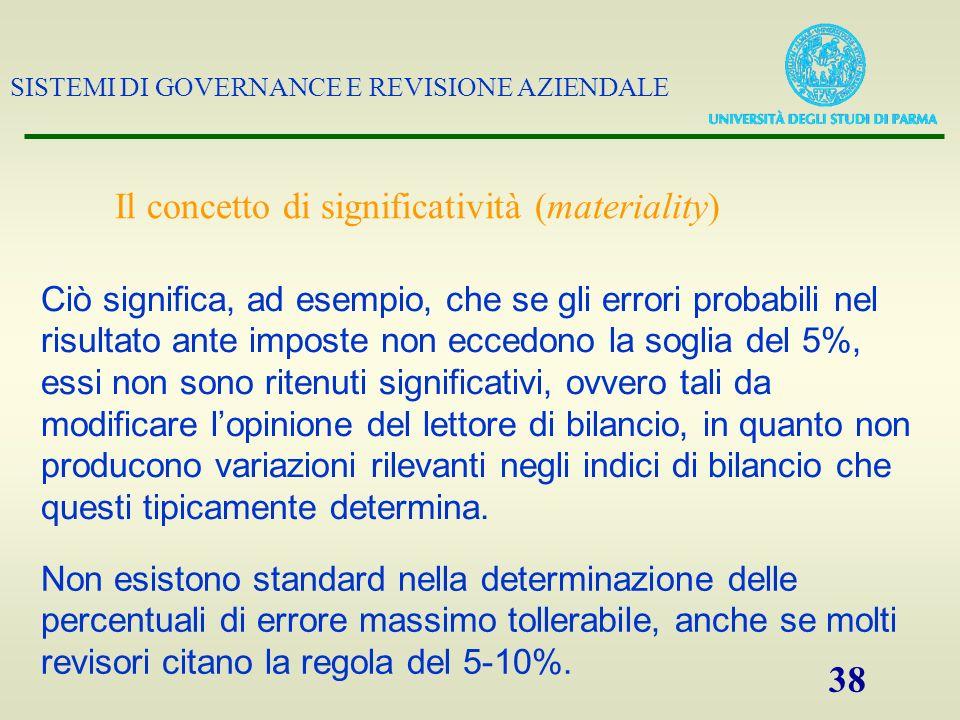 SISTEMI DI GOVERNANCE E REVISIONE AZIENDALE 38 Il concetto di significatività (materiality) Ciò significa, ad esempio, che se gli errori probabili nel