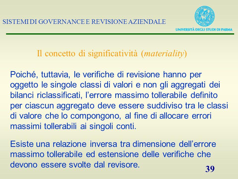 SISTEMI DI GOVERNANCE E REVISIONE AZIENDALE 39 Il concetto di significatività (materiality) Poiché, tuttavia, le verifiche di revisione hanno per ogge