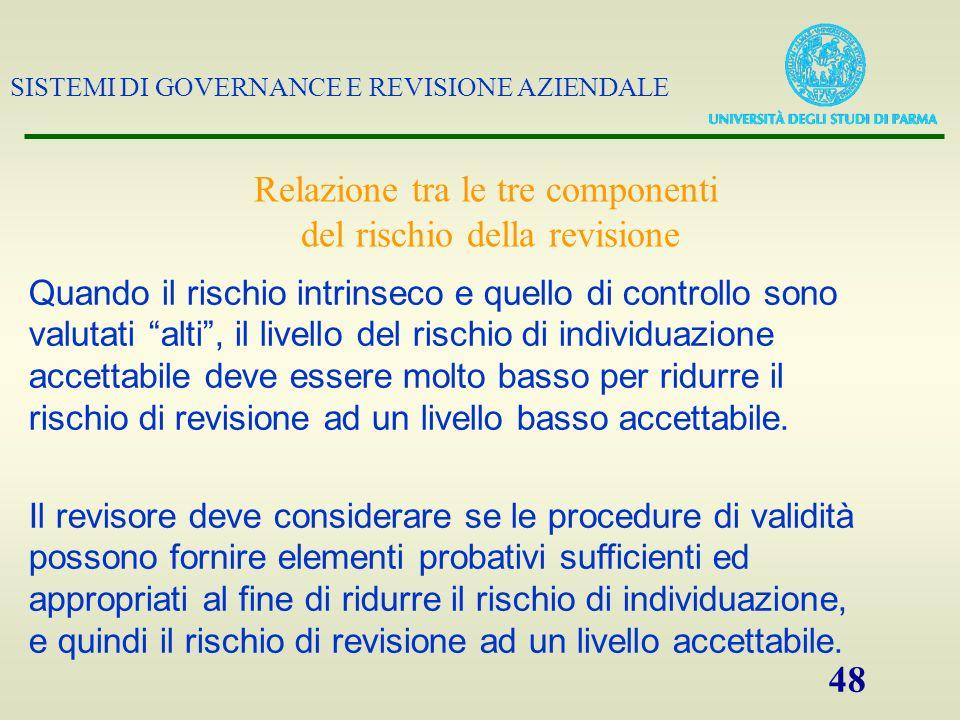 SISTEMI DI GOVERNANCE E REVISIONE AZIENDALE 48 Il revisore deve considerare se le procedure di validità possono fornire elementi probativi sufficienti