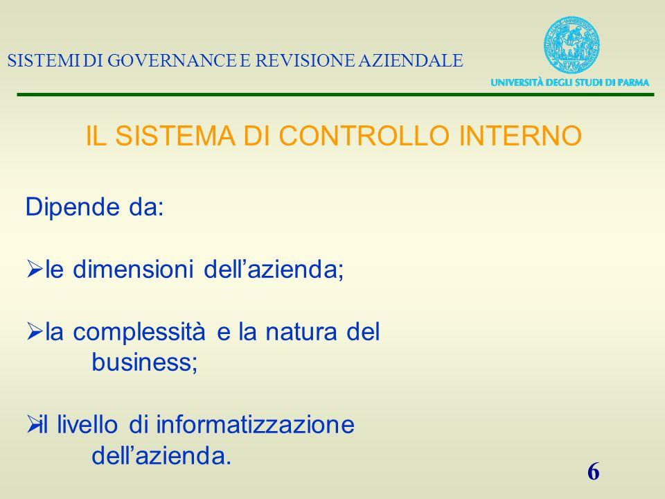SISTEMI DI GOVERNANCE E REVISIONE AZIENDALE 6 Dipende da: le dimensioni dellazienda; la complessità e la natura del business; il livello di informatiz