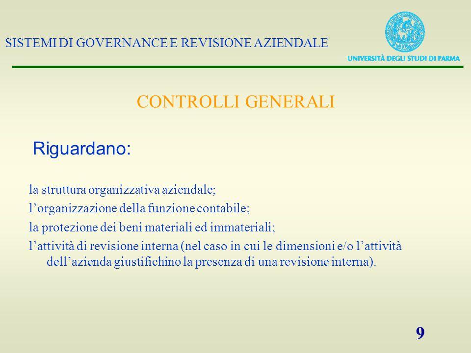 SISTEMI DI GOVERNANCE E REVISIONE AZIENDALE 9 la struttura organizzativa aziendale; lorganizzazione della funzione contabile; la protezione dei beni m