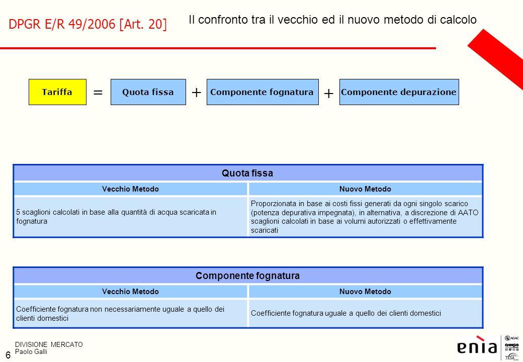 6 Il confronto tra il vecchio ed il nuovo metodo di calcolo Quota fissa Vecchio MetodoNuovo Metodo 5 scaglioni calcolati in base alla quantità di acqu