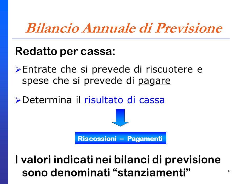 16 Bilancio Annuale di Previsione Redatto per cassa: Entrate che si prevede di riscuotere e spese che si prevede di pagare Determina il risultato di c