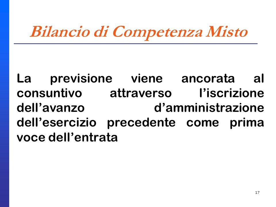 17 Bilancio di Competenza Misto La previsione viene ancorata al consuntivo attraverso liscrizione dellavanzo damministrazione dellesercizio precedente