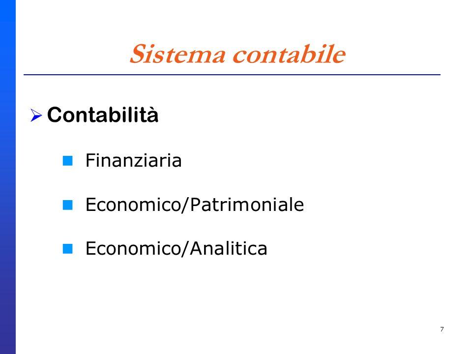 7 Sistema contabile Contabilità Finanziaria Economico/Patrimoniale Economico/Analitica
