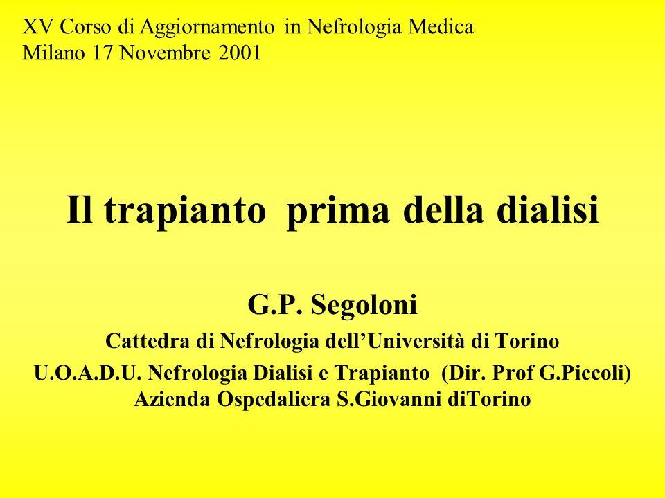 Il trapianto prima della dialisi G.P. Segoloni Cattedra di Nefrologia dellUniversità di Torino U.O.A.D.U. Nefrologia Dialisi e Trapianto (Dir. Prof G.