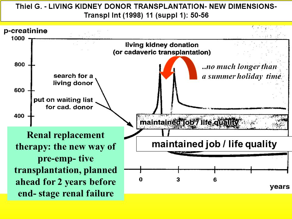 Thiel G. - LIVING KIDNEY DONOR TRANSPLANTATION- NEW DIMENSIONS- Transpl Int (1998) 11 (suppl 1): 50-56 maintained job / life quality Renal replacement