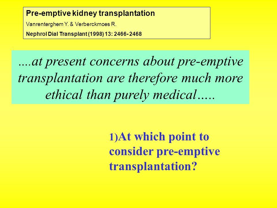 Pre-emptive kidney transplantation Vanrenterghem Y. & Verberckmoes R. Nephrol Dial Transplant (1998) 13: 2466- 2468 …. at present concerns about pre-e