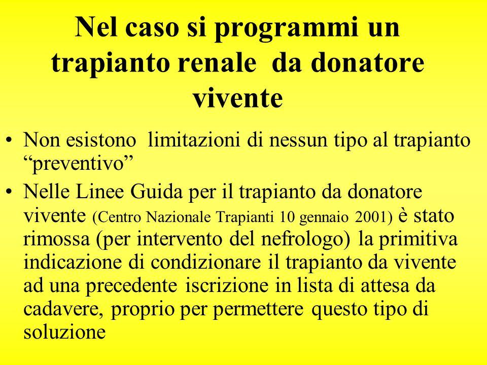 Nel caso si programmi un trapianto renale da donatore vivente Non esistono limitazioni di nessun tipo al trapianto preventivo Nelle Linee Guida per il