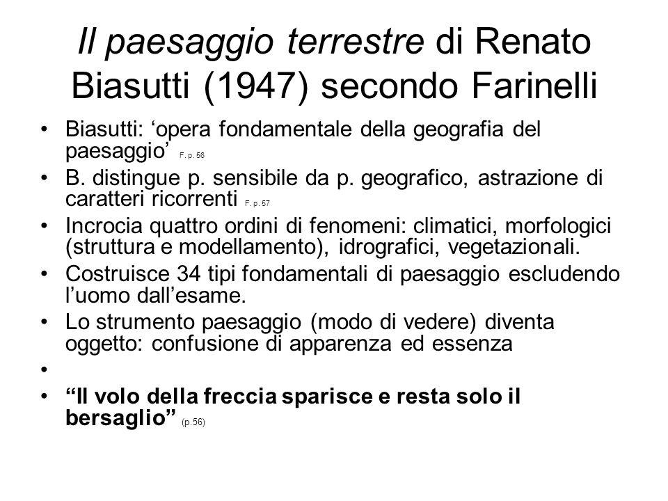 Il paesaggio terrestre di Renato Biasutti (1947) secondo Farinelli Biasutti: opera fondamentale della geografia del paesaggio F. p. 56 B. distingue p.