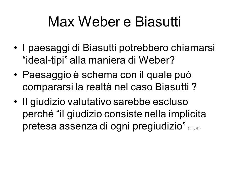 Max Weber e Biasutti I paesaggi di Biasutti potrebbero chiamarsi ideal-tipi alla maniera di Weber? Paesaggio è schema con il quale può compararsi la r