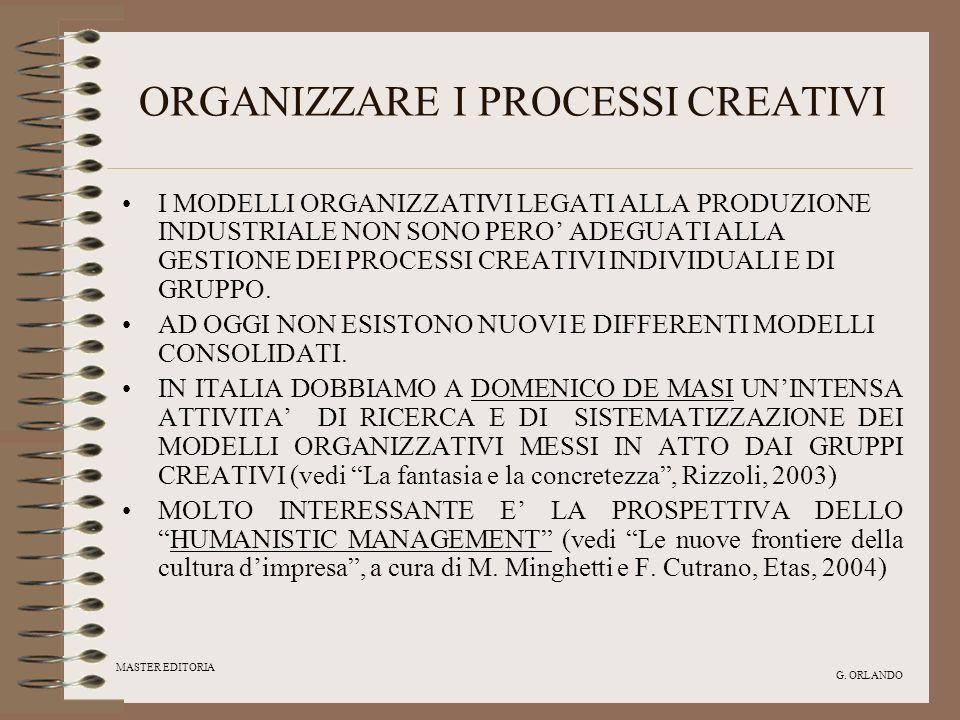 MASTER EDITORIA G. ORLANDO ORGANIZZARE I PROCESSI CREATIVI I MODELLI ORGANIZZATIVI LEGATI ALLA PRODUZIONE INDUSTRIALE NON SONO PERO ADEGUATI ALLA GEST