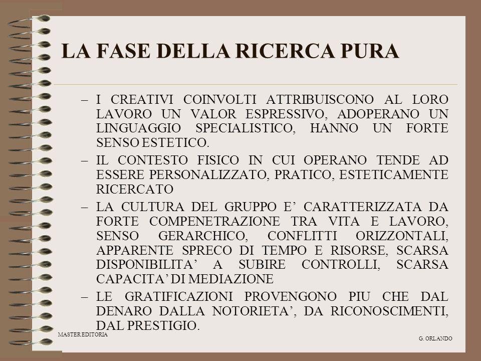 MASTER EDITORIA G. ORLANDO LA FASE DELLA RICERCA PURA –I CREATIVI COINVOLTI ATTRIBUISCONO AL LORO LAVORO UN VALOR ESPRESSIVO, ADOPERANO UN LINGUAGGIO