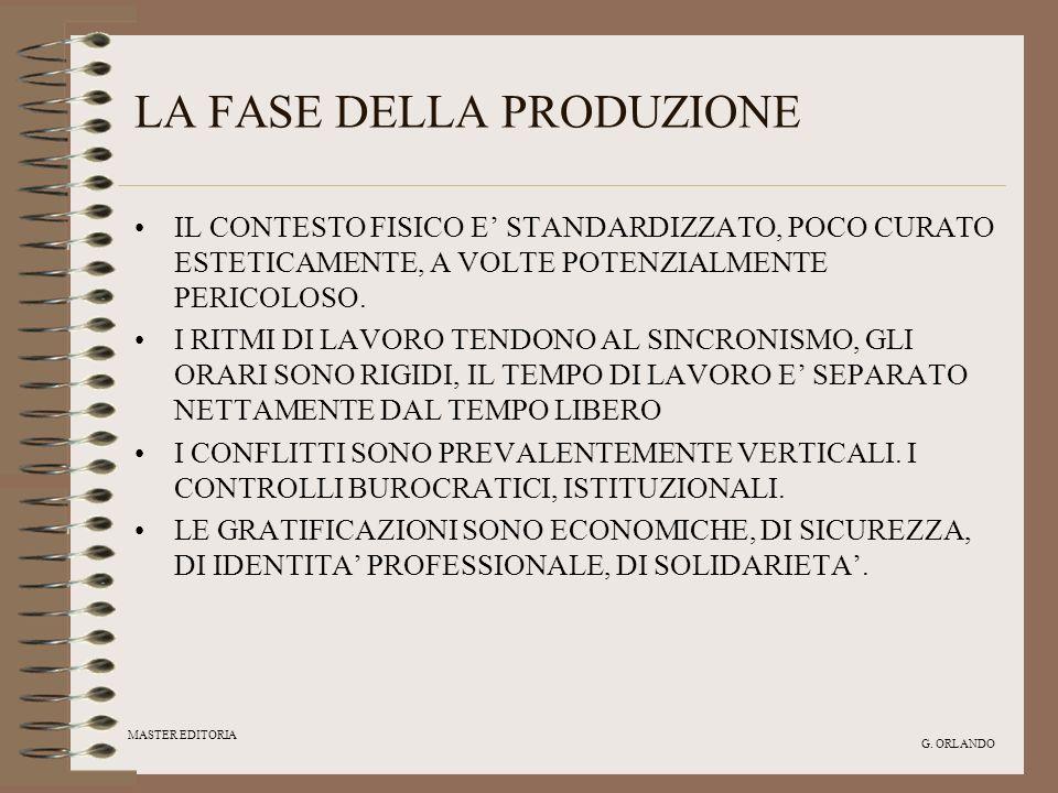 MASTER EDITORIA G. ORLANDO LA FASE DELLA PRODUZIONE IL CONTESTO FISICO E STANDARDIZZATO, POCO CURATO ESTETICAMENTE, A VOLTE POTENZIALMENTE PERICOLOSO.