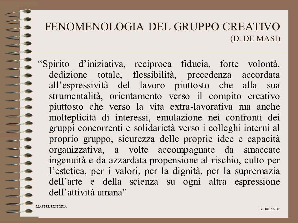 MASTER EDITORIA G. ORLANDO FENOMENOLOGIA DEL GRUPPO CREATIVO (D. DE MASI) Spirito diniziativa, reciproca fiducia, forte volontà, dedizione totale, fle