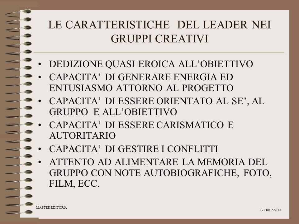 MASTER EDITORIA G. ORLANDO LE CARATTERISTICHE DEL LEADER NEI GRUPPI CREATIVI DEDIZIONE QUASI EROICA ALLOBIETTIVO CAPACITA DI GENERARE ENERGIA ED ENTUS
