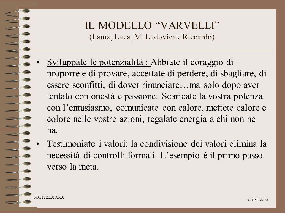 MASTER EDITORIA G. ORLANDO IL MODELLO VARVELLI (Laura, Luca, M. Ludovica e Riccardo) Sviluppate le potenzialità : Abbiate il coraggio di proporre e di