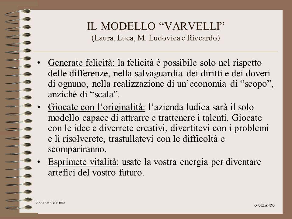 MASTER EDITORIA G. ORLANDO IL MODELLO VARVELLI (Laura, Luca, M. Ludovica e Riccardo) Generate felicità: la felicità è possibile solo nel rispetto dell