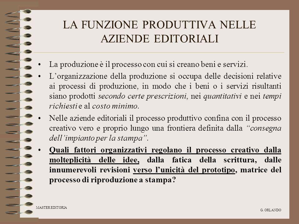 MASTER EDITORIA G. ORLANDO LA FUNZIONE PRODUTTIVA NELLE AZIENDE EDITORIALI La produzione è il processo con cui si creano beni e servizi. Lorganizzazio