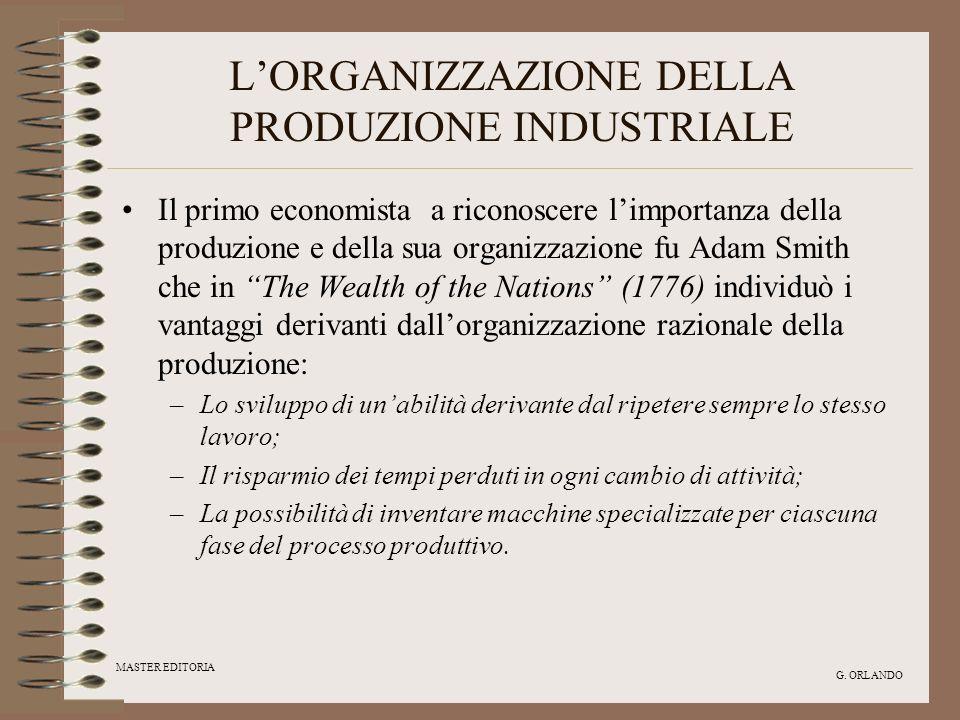 MASTER EDITORIA G. ORLANDO LORGANIZZAZIONE DELLA PRODUZIONE INDUSTRIALE Il primo economista a riconoscere limportanza della produzione e della sua org