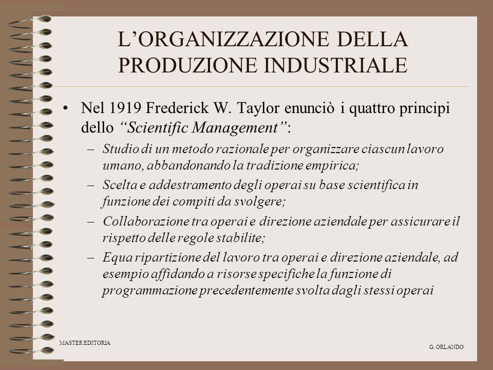 MASTER EDITORIA G. ORLANDO LORGANIZZAZIONE DELLA PRODUZIONE INDUSTRIALE Nel 1919 Frederick W. Taylor enunciò i quattro principi dello Scientific Manag