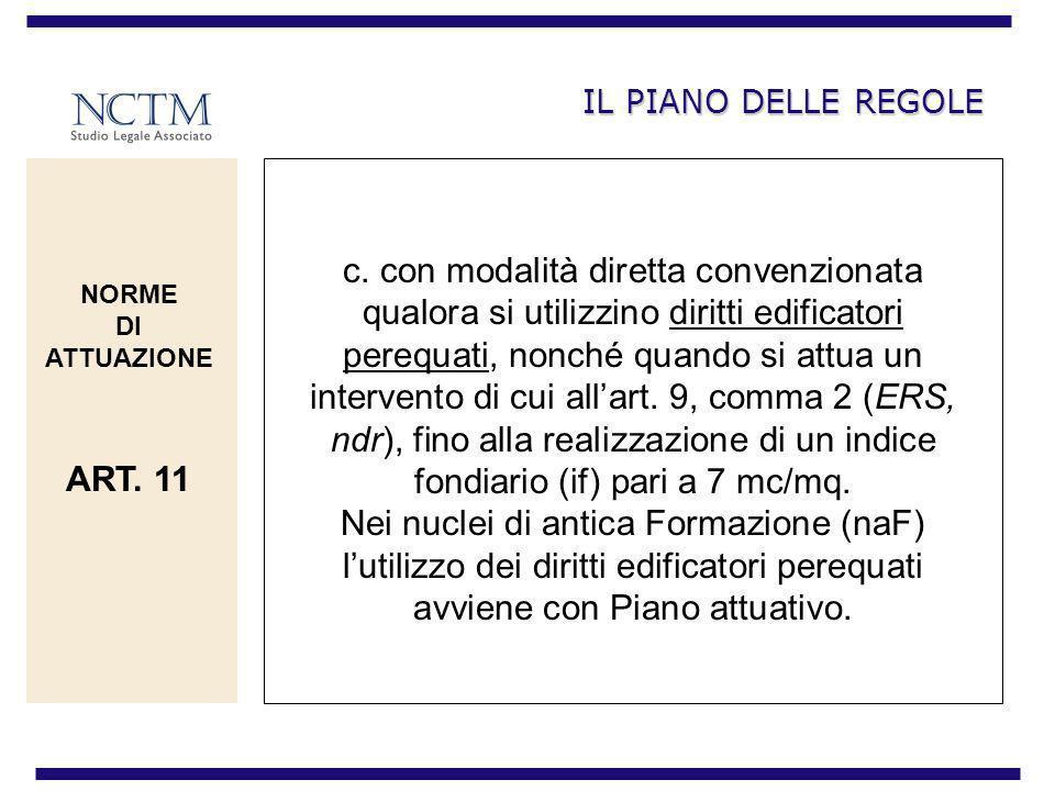 IL PIANO DELLE REGOLE c. con modalità diretta convenzionata qualora si utilizzino diritti edificatori perequati, nonché quando si attua un intervento