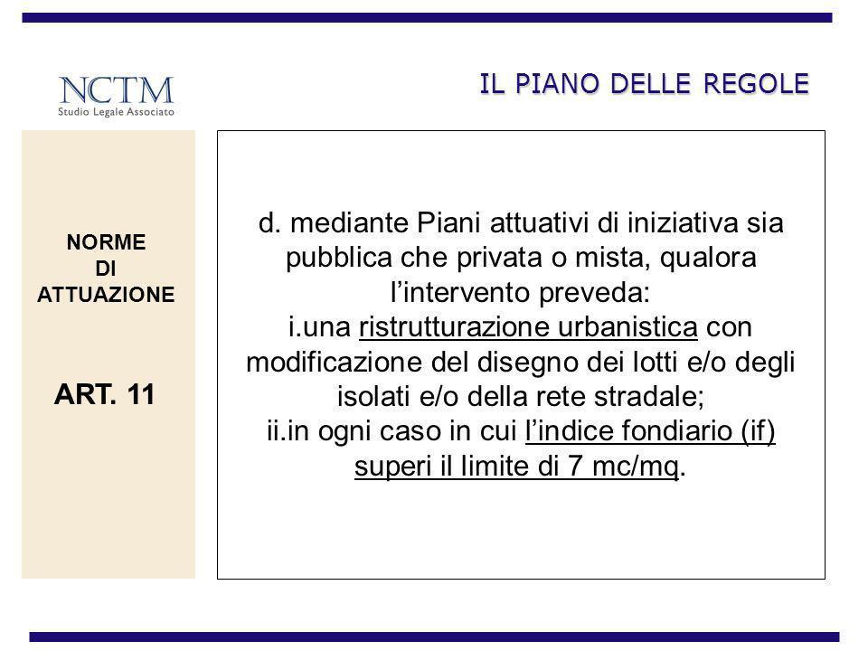 IL PIANO DELLE REGOLE d. mediante Piani attuativi di iniziativa sia pubblica che privata o mista, qualora lintervento preveda: i.una ristrutturazione