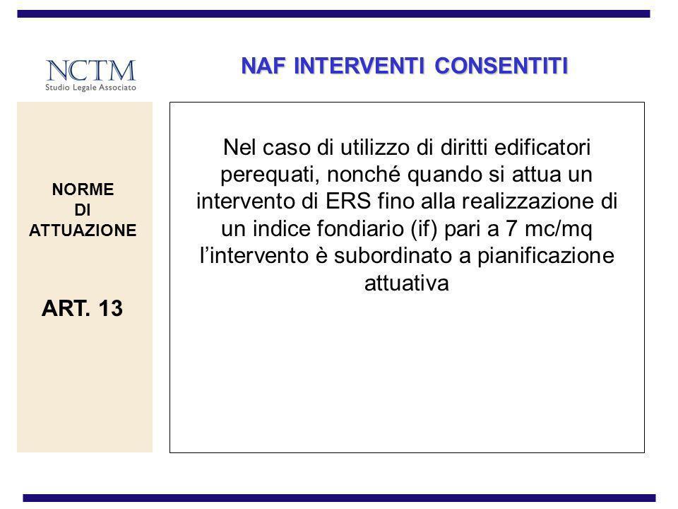 NAF INTERVENTI CONSENTITI Nel caso di utilizzo di diritti edificatori perequati, nonché quando si attua un intervento di ERS fino alla realizzazione d