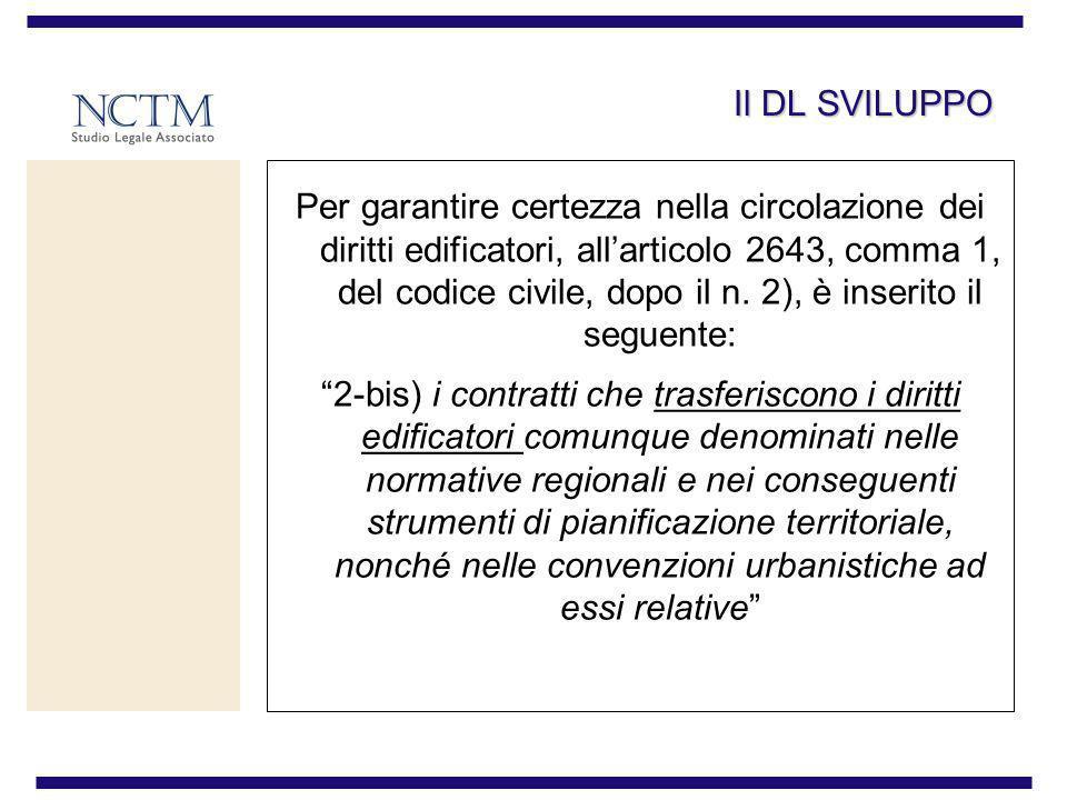 Il DL SVILUPPO Per garantire certezza nella circolazione dei diritti edificatori, allarticolo 2643, comma 1, del codice civile, dopo il n. 2), è inser