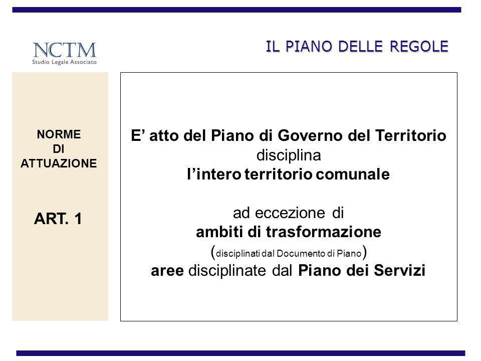 IL PIANO DELLE REGOLE E atto del Piano di Governo del Territorio disciplina lintero territorio comunale ad eccezione di ambiti di trasformazione ( dis