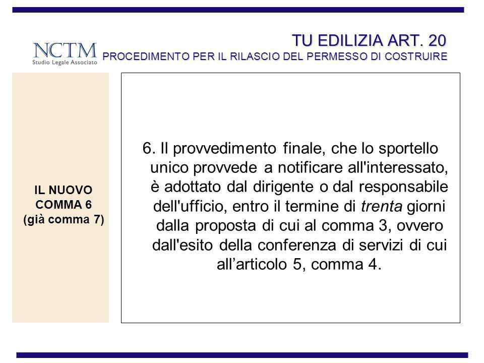 TU EDILIZIA ART. 20 PROCEDIMENTO PER IL RILASCIO DEL PERMESSO DI COSTRUIRE 6. Il provvedimento finale, che lo sportello unico provvede a notificare al