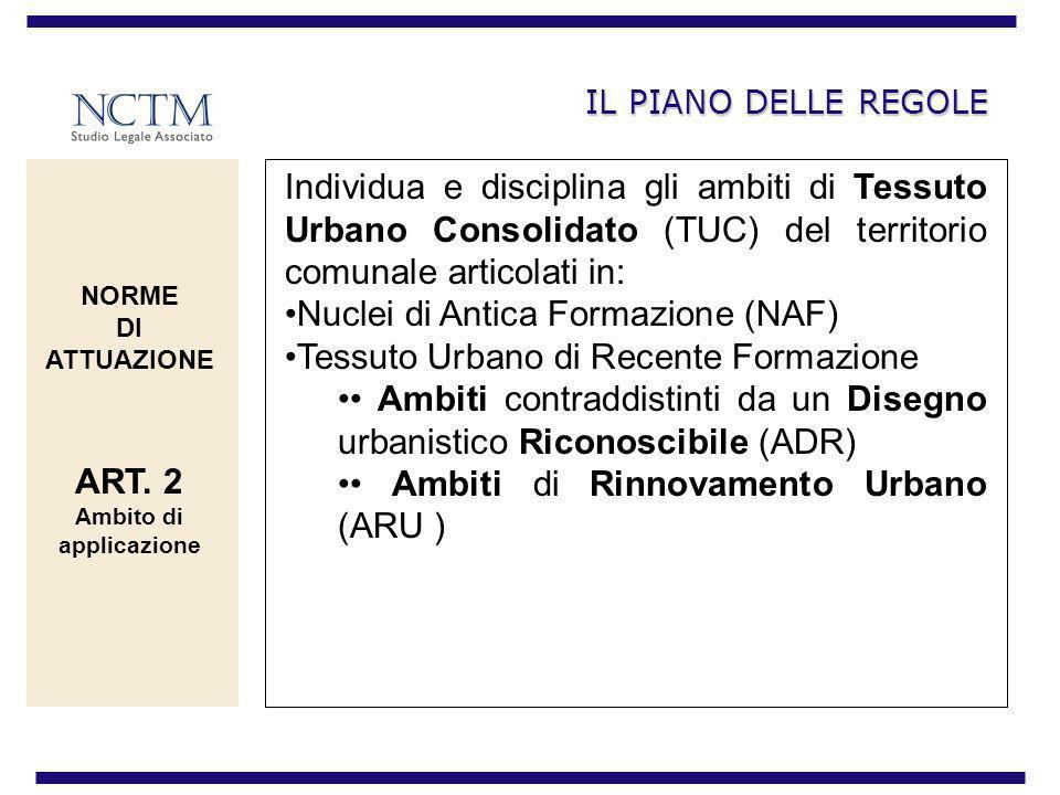 IL PIANO DELLE REGOLE Individua e disciplina gli ambiti di Tessuto Urbano Consolidato (TUC) del territorio comunale articolati in: Nuclei di Antica Fo