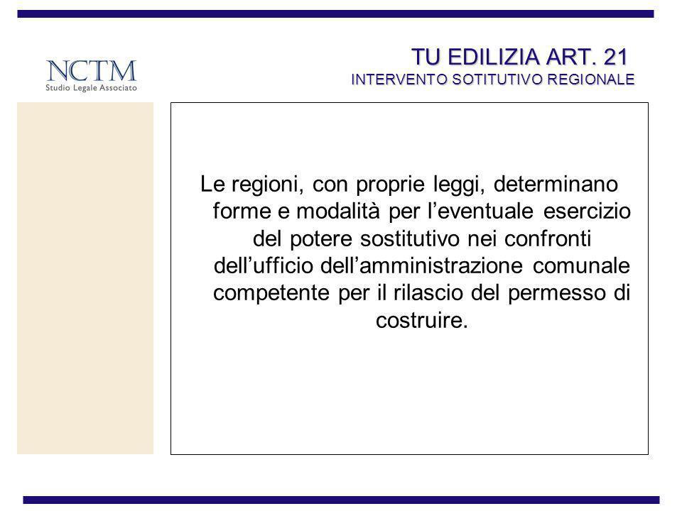 TU EDILIZIA ART. 21 INTERVENTO SOTITUTIVO REGIONALE Le regioni, con proprie leggi, determinano forme e modalità per leventuale esercizio del potere so